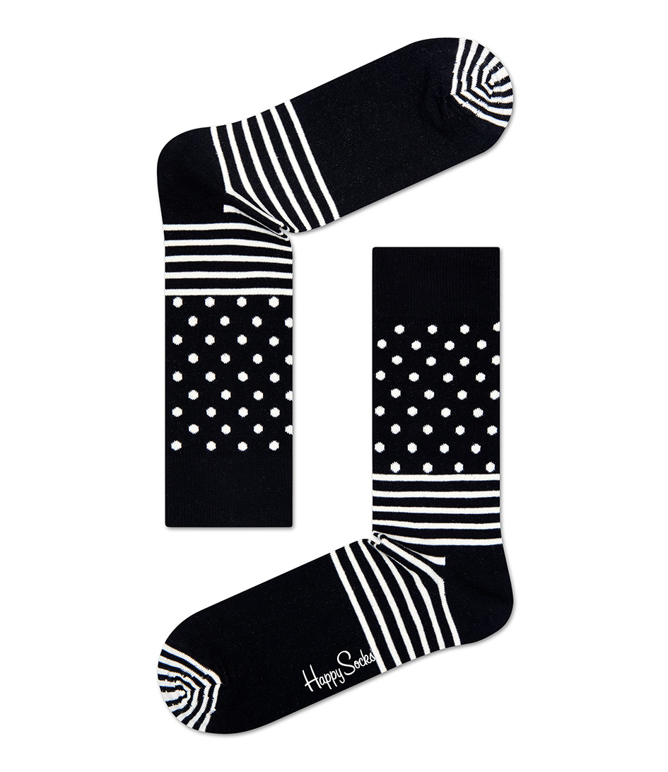 Happy SocksSocksSocks Stripes and DotsBlack