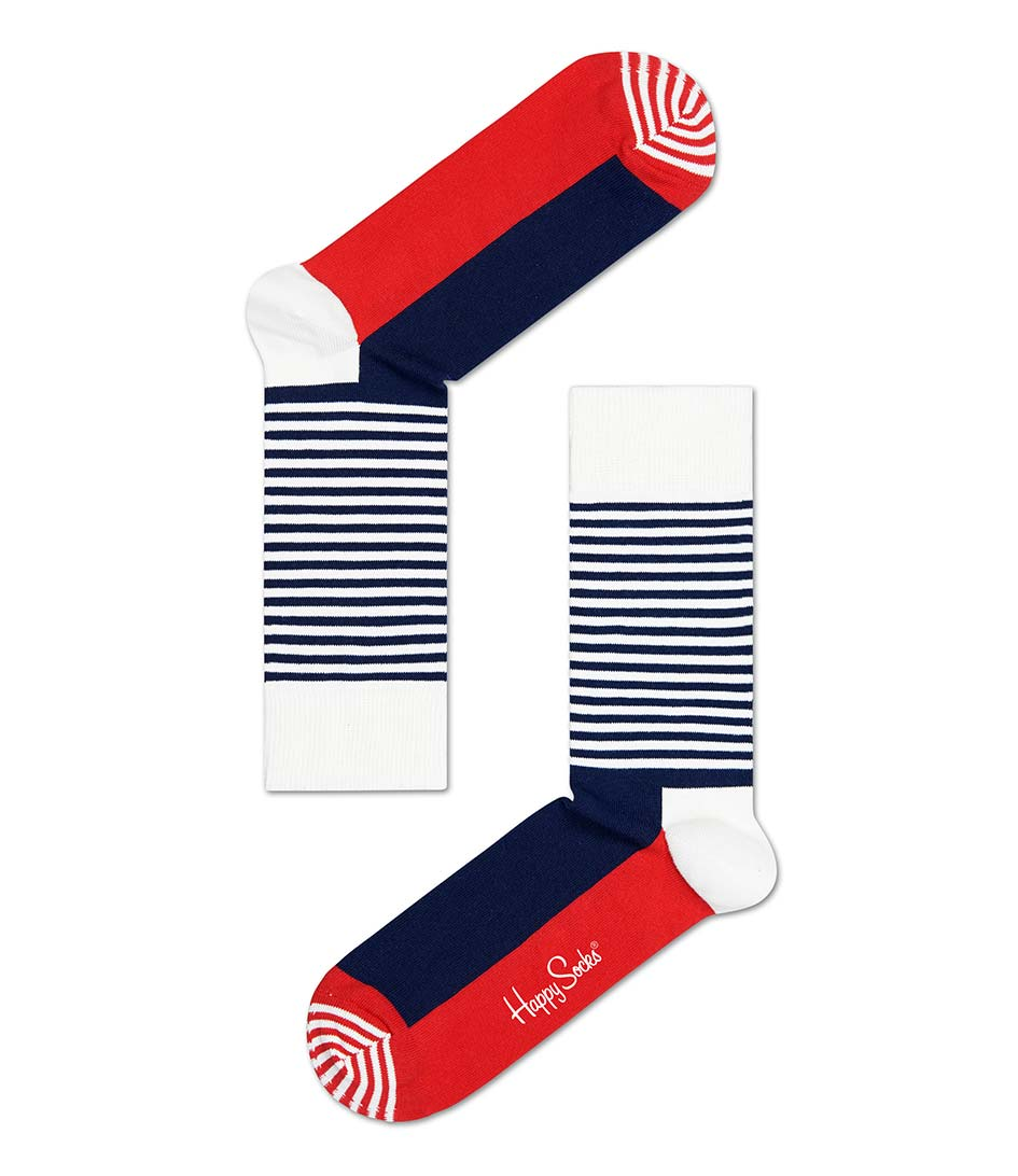 Happy SocksSocksHalf Stripe SocksWhite